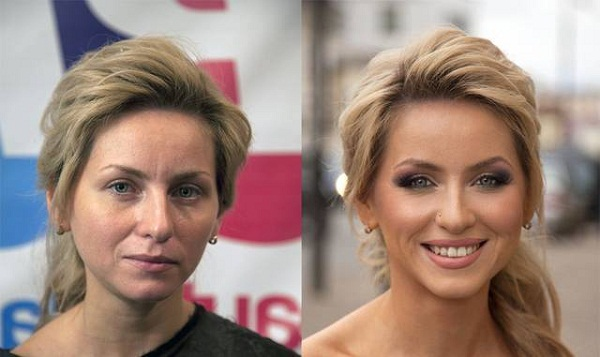 Woman before and after makeup