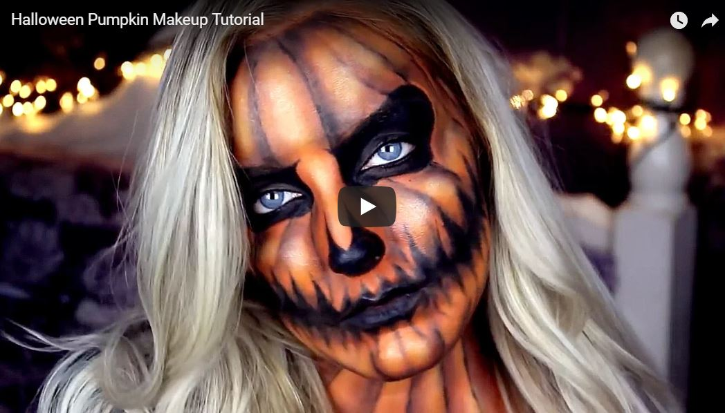 Halloween Pumpkin video makeup tutorial